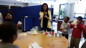 Laura Yunes teaching the ice cream in a bag experiment